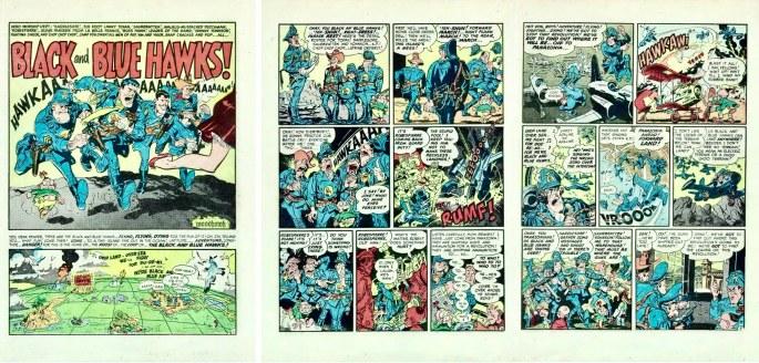 Inledande sidor med Black and Blue Hawks av Harvey Kurtzman och Wally Wood, ur Mad Magazine #5 (1953). ©EC