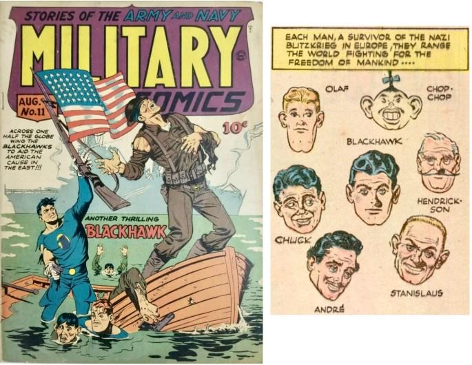 Omslag till Military Comics #11 (1942) och en serieruta ur en sida med Blackhawk. ©Quality/Comic Magazines