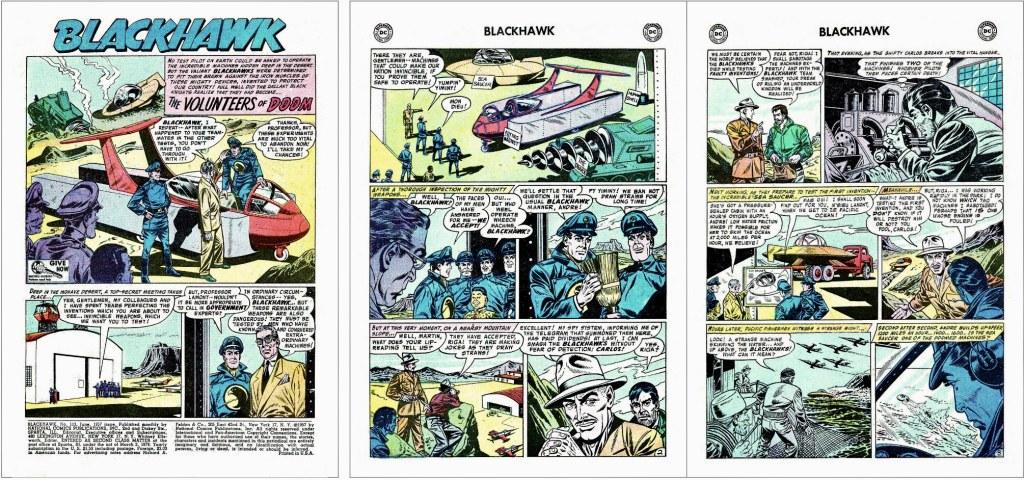 Inledande sidor ur episoden The Volunteers of Doom från Blackhawk #113 (1957). ©DC/National