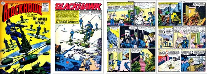 Omslag och inledande sidor ur Blackhawk #107 (1956) ©Quality/Comic Favorites