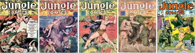 Omslag till Jungle Comics #1-5 (1940). ©Fiction House
