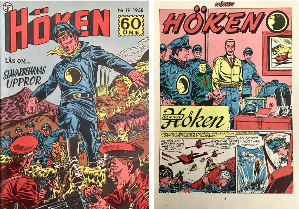 Omslag till Höken nr 19, 1958 och inledande sida ur Höken-serien. ©Formatic/EuropaPress