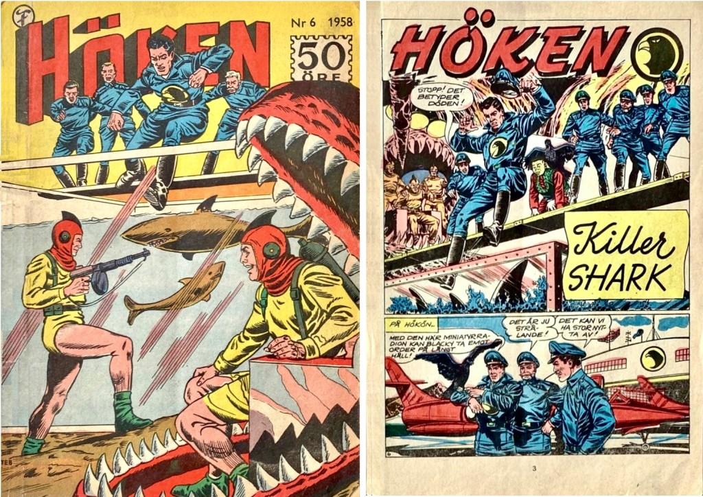 Omslag till Höken nr 6, 1958 och inledande sida ur Höken-serien. ©Formatic/EuropaPress