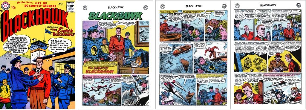 Omslag till Blackhawk #112 (1957) och inledande sidor ur episoden The Eighth Blackhawk. ©DC/National