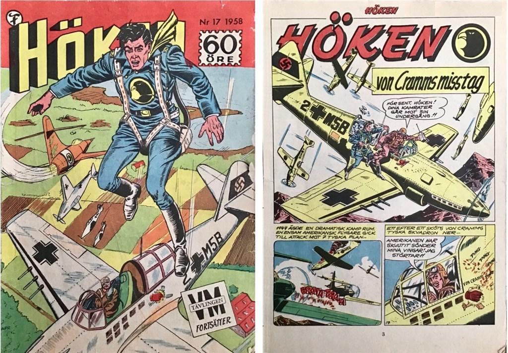 Omslag till Höken nr 17, 1958 och inledande sida ur Höken-serien. ©Formatic/EuropaPress