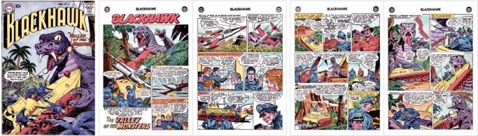 Motsvarande inledning i original med episoden The Valley KFS the Monsters, av Jack Schiff (manus) och Ruben Moreira (teckningar), ur Blackhawk #119 (1957). Omslag av Dick Dillin (skiss) och Sheldon Moldoff (tusch). ©DC/National
