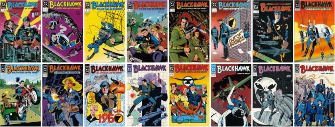 Omslag till Blackhawk #1-16 (1988-90). ©DC/National