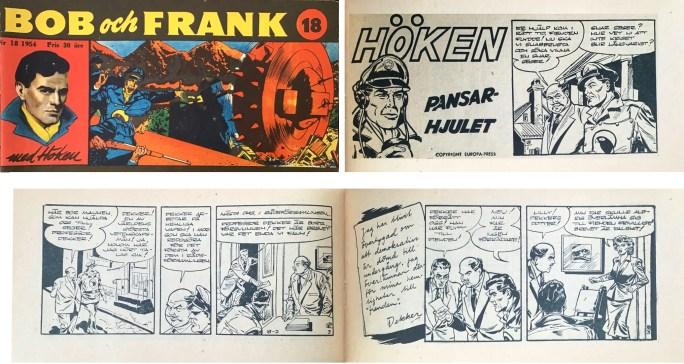 Omslag till Bob och Frank nr 18, 1954, och inledning till Höken-episoden Pansarhjulet. ©Serieförlaget/Europa-Press