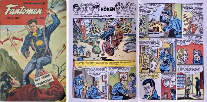 Omslag till Fantomen nr 4, 1951, och inledande uppslag ur Höken. ©Alga/Serieförlaget/Egmont