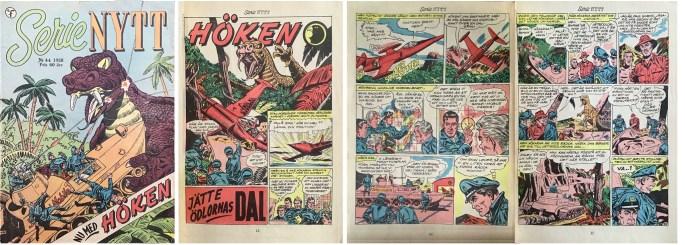 Omslag till SerieNytt nr 44, 1958, och inledande sidor ur episoden Jätteödlornas dal med Höken. ©Formatic/EuropaPress