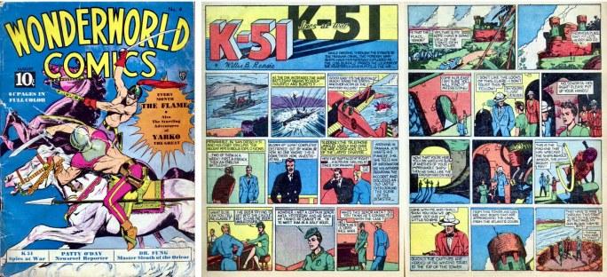 Omslag till Wonderworld Comics #4 (1939) och ett inledande uppslag ur K-51 Spies at War. ©Fox
