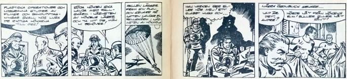 Omslag till Bob och Frank nr 19, 1954, och inledning till Höken-episoden Förintelse. ©Serieförlaget/Europa-Press