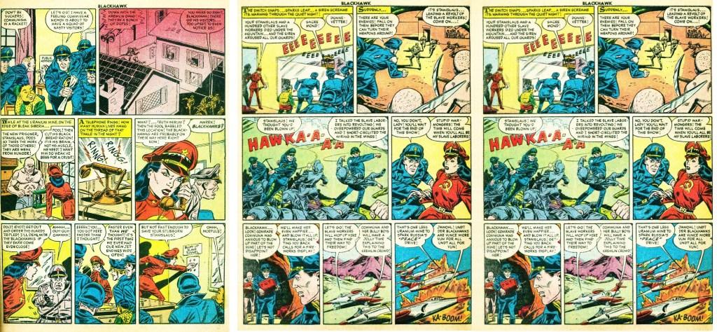 Motsvarande sidor i original ur episoden Revolt of the Slave Workers. ©Quality/Comic Favorites