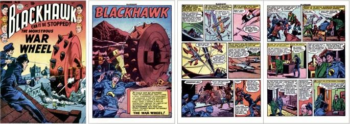 Omslag till Blackhawk #56 (1952), och motsvarande inledning i original från den första Blackhawk-serien i tidningen. ©Quality