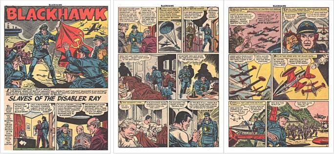 Motsvarande inledning i original från den tredje Blackhawk-serien ur Blackhawk #77 (1954). ©Quality