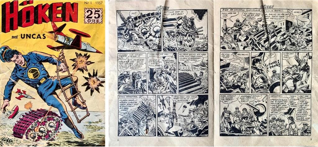 Omslag till Höken nr 1, 1957 och avslutande uppslag ur Höken-serien. ©Formatic/EuropaPress