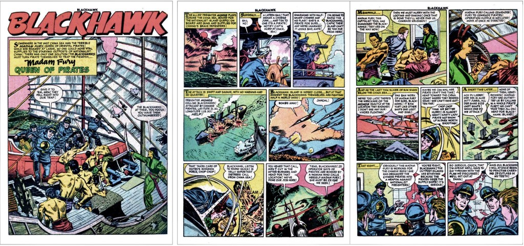 Inledande sidor med episoden Madam Fury, Queen of Pirates ur Blackhawk #95. ©Quality/Comic Favorites