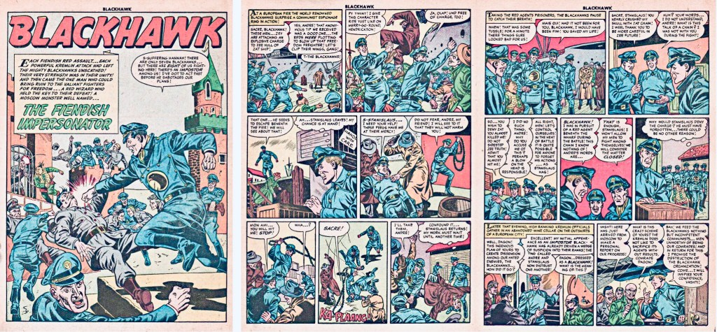 Inledande sidor med episoden The Fiendish Impersonator ur Blackhawk #85 (1955). ©Quality/Comic Favorites