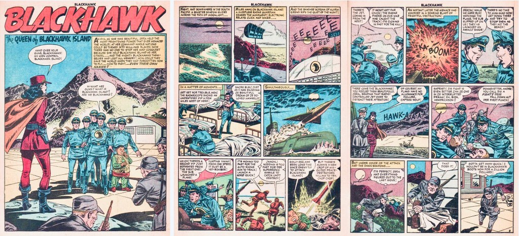Inledande sidor med episoden The Queen of Blackhawk Island ur Blackhawk #99 (1956). ©Quality/Comic Favorites