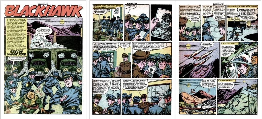 Inledande sidor med episoden Rescue Under Fire ur Blackhawk #104 (1956). ©Quality/Comic Favorites