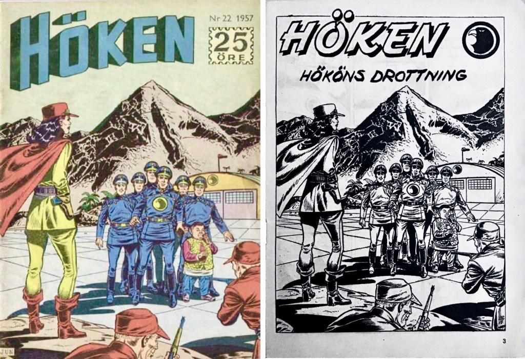 Omslag till Höken nr 22, 1957 och inledande sida ur Höken-serien. ©Formatic/EuropaPress