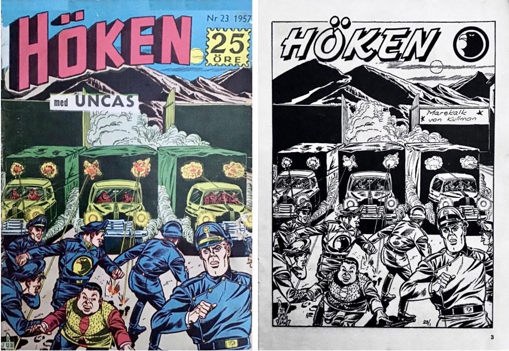 Omslag till Höken nr 23, 1957 och inledande sida ur Höken-serien. ©Formatic/EuropaPress
