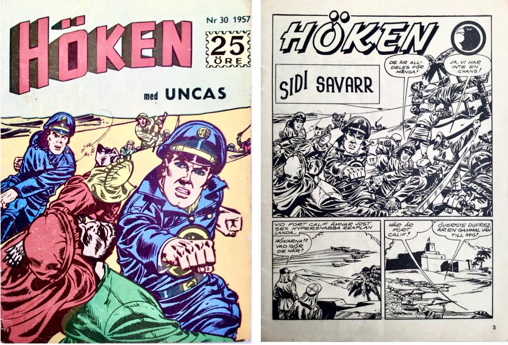Omslag till Höken nr 30, 1957 och inledande sida ur Höken-serien. ©Formatic/EuropaPress