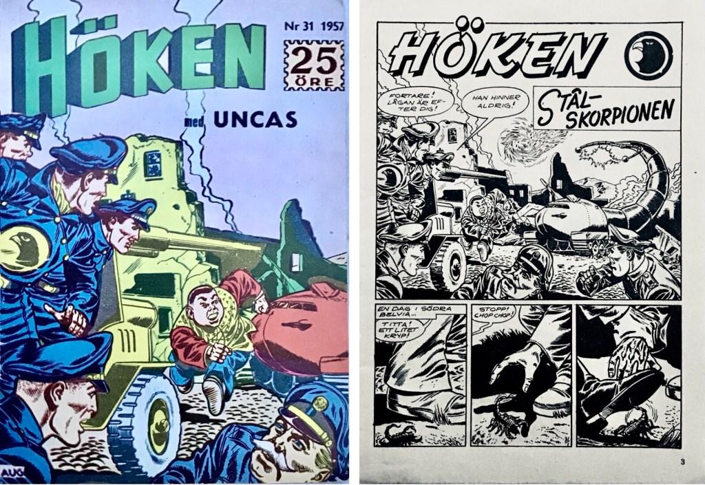 Omslag till Höken nr 31, 1957 och inledande sida ur Höken-serien. ©Formatic/EuropaPress