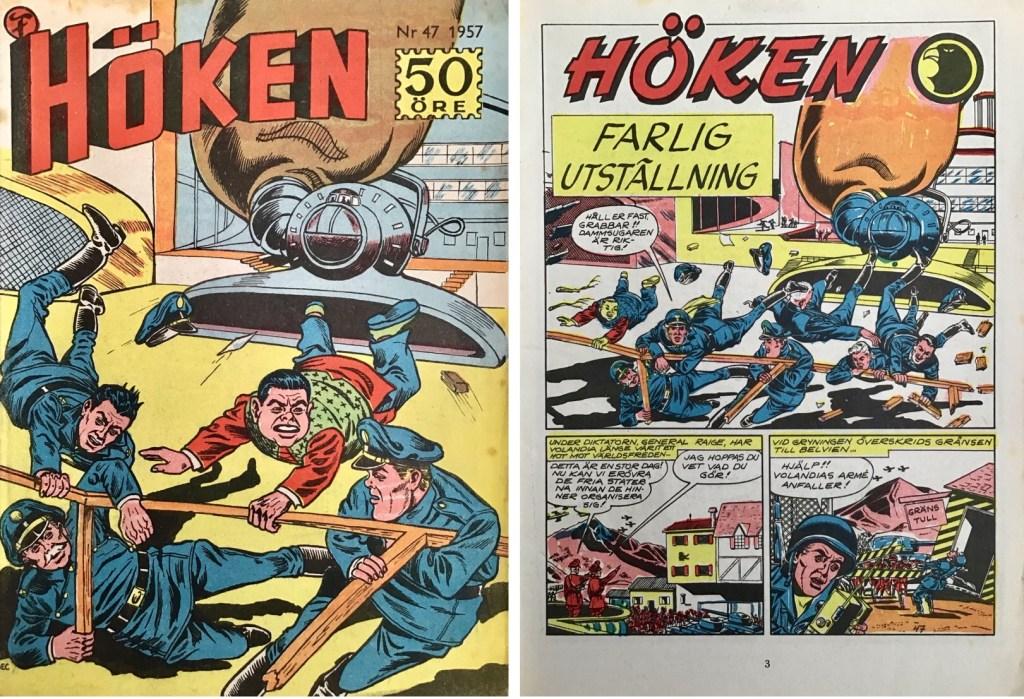 Omslag till Höken nr 47, 1957 och inledande sida ur Höken-serien. ©Formatic/EuropaPress