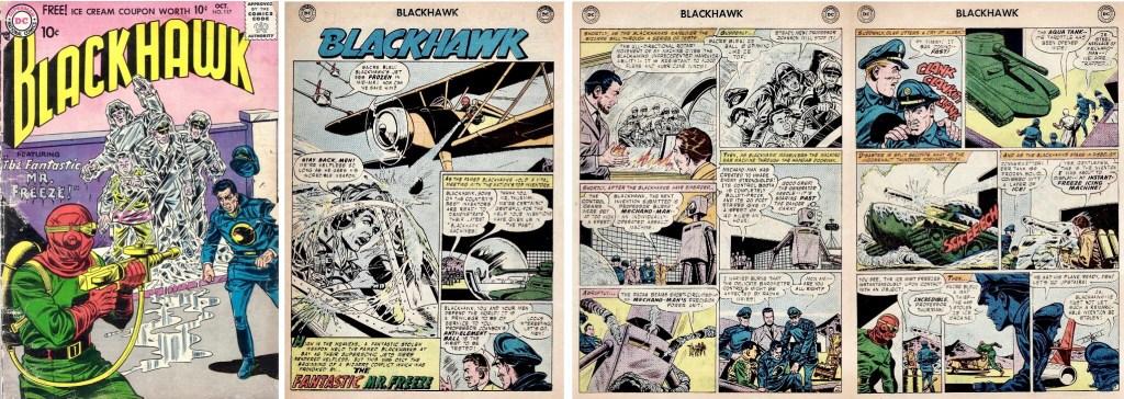 Omslag till Blackhawk #117 (1957) och inledande sidor med episoden The Fantastic Mr. Freeze. ©DC