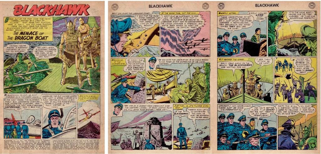 Inledande sidor med episoden The Menace of the Dragon Boat ur Blackhawk #117 (1957). ©DC