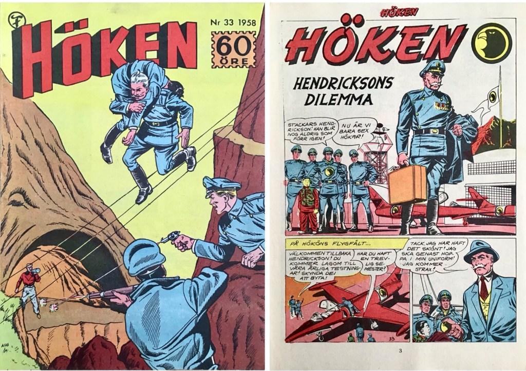 Omslag till Höken nr 33, 1958 och inledande sida ur Höken-serien. ©Formatic/EuropaPress