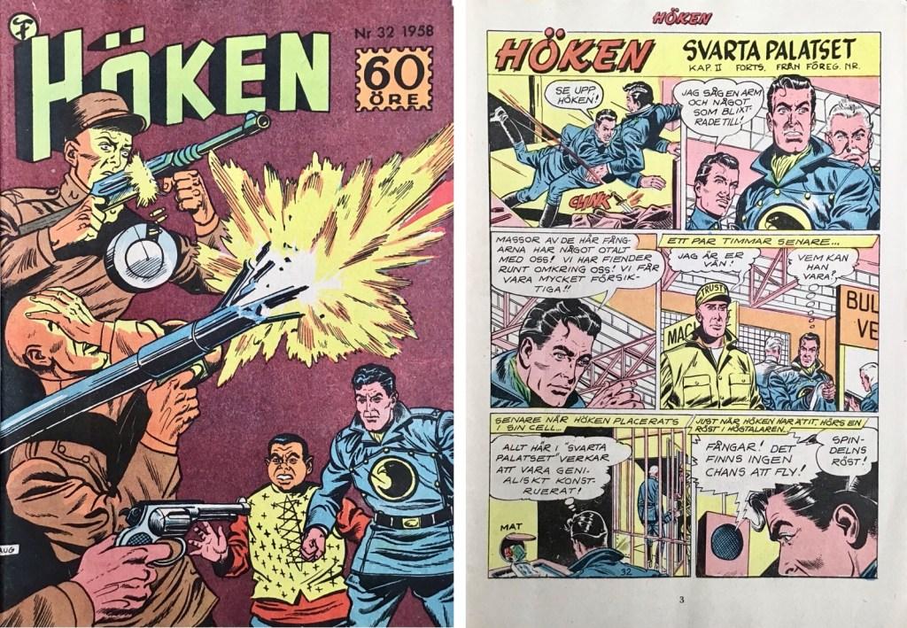 Omslag till Höken nr 32, 1958 och inledande sida ur Höken-serien. ©Formatic/EuropaPress