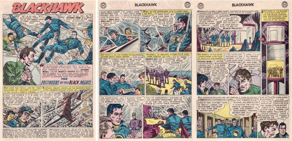 Inledande sidor ur episoden The Prisoners of the Black Palace från Blackhawk #116 (1957). ©DC/National
