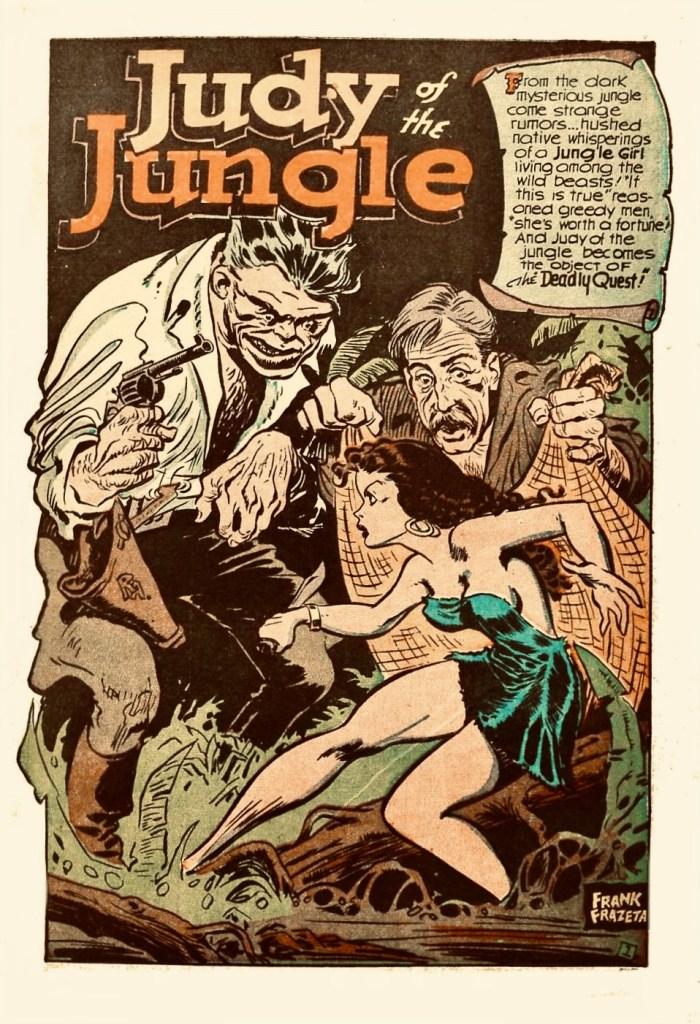 Exciting Comics #59 (januari 1948), förlaget Better. Frazetta leker med namnet och har tagit bort ett t, från början stavades han med två z. ©Better