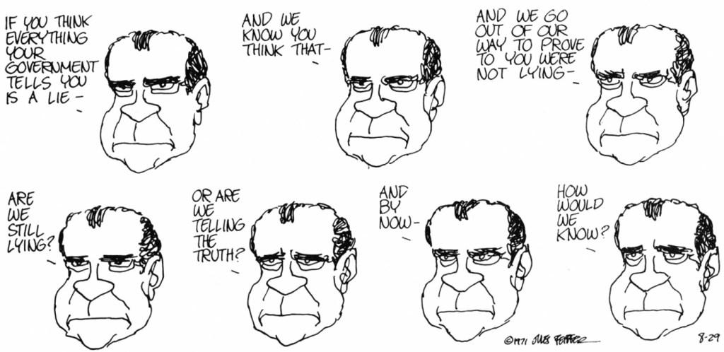 Politik var inte sällan ett ämne för Feiffer, inte minst när Nixon var president. Denna stripp var från 29 augusti 1971. ©Feiffer