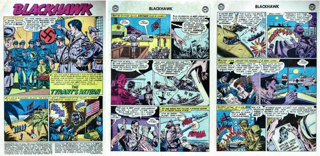 Inledande sidor ur episoden The Tyrant Returns från Blackhawk #115 (1957). ©DC/National