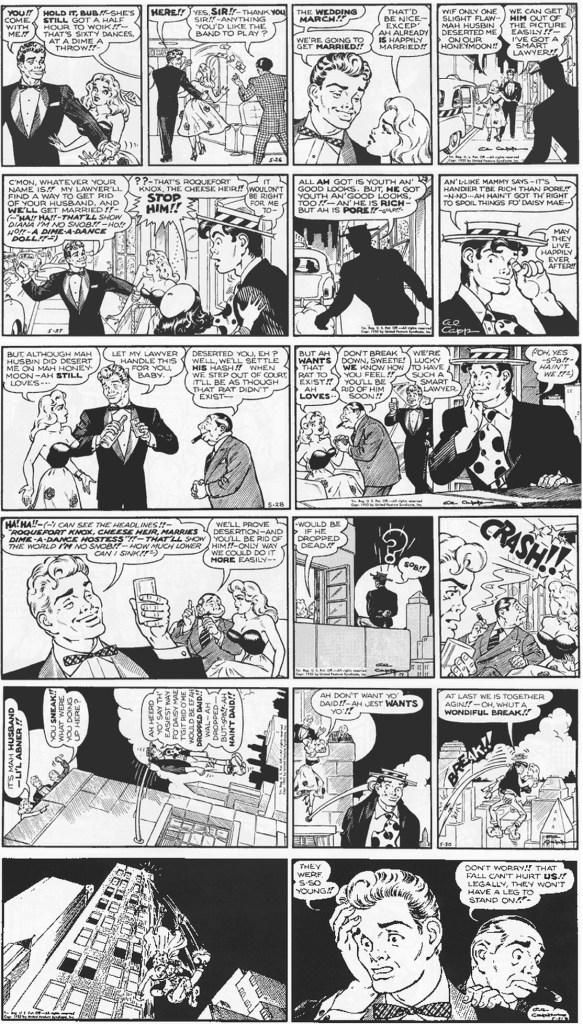 Motsvarande dagsstripp i original, från veckan 26-31 maj 1952. ©United