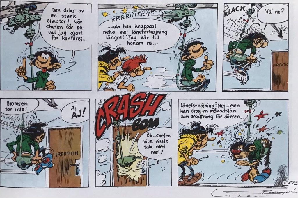 Ett utdrag ur en sida med Gaston från nya Comics (1993). ©PIB/Dupuis