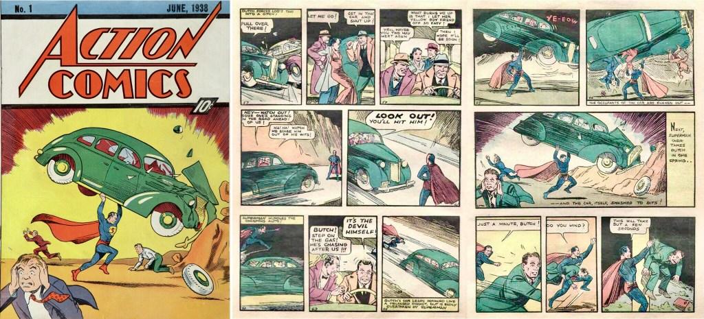 Omslag till Action Comics #1 (1938) och motsvarande uppslag i original. ©DC