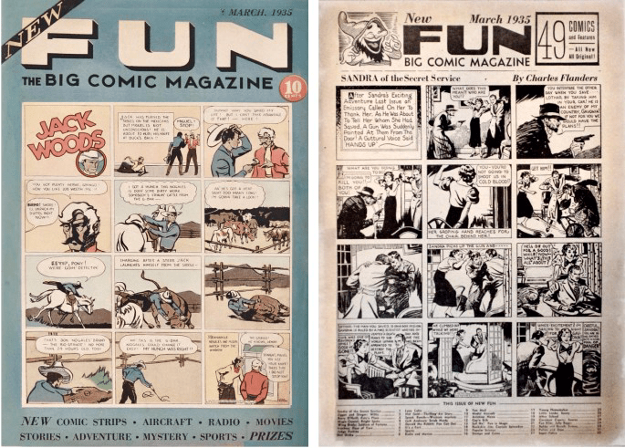 Omslag till New Fun #2 (1935) och en sida ur inlagan med Sandra of the Secret Service, en originalserie av Charles Flanders. ©National Allied