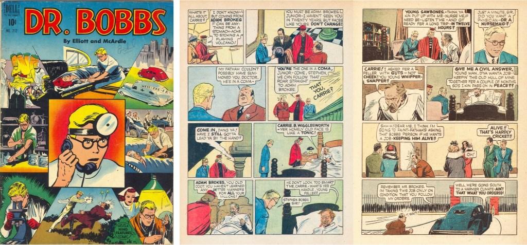 Omslag och ett uppslag ur Dr. Bobbs (Four Color Comic #212) från 1948. ©Dell/KFS