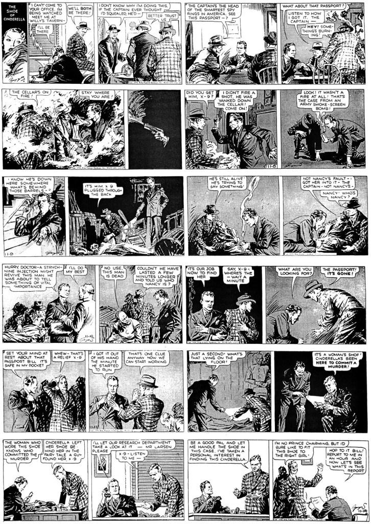 Första veckans dagsstrippar med Secret Agent X-9 från från 7-12 november, 1938. ©KFS