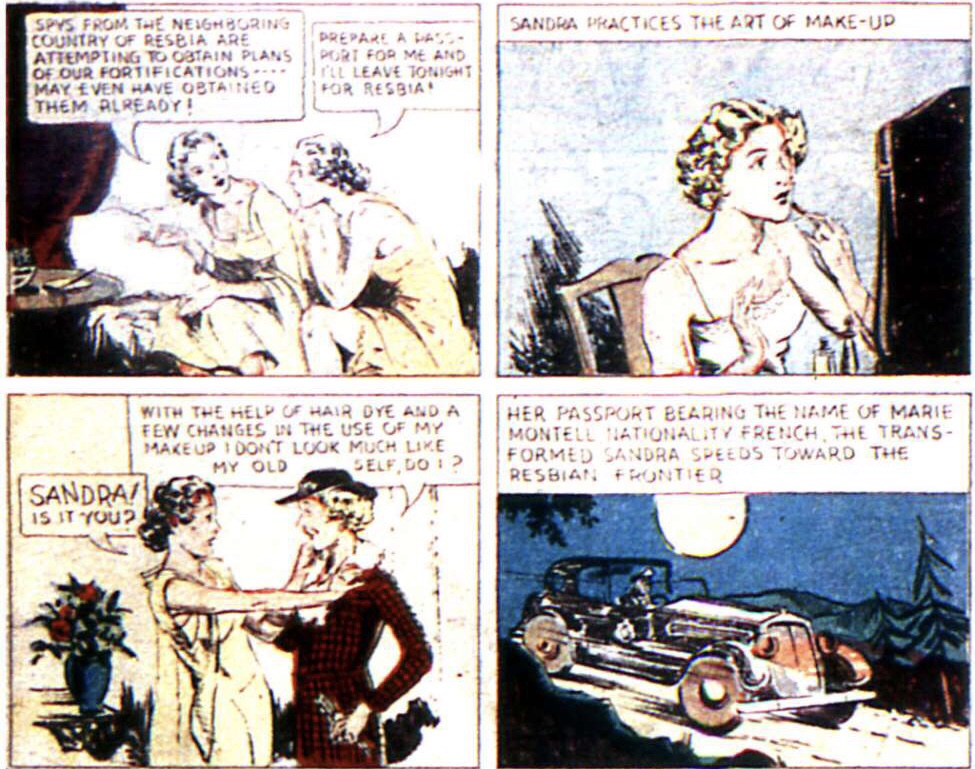 Några serierutor med Sandra of the Secret Service ur More Fun Comics #13 (1937). ©National Allied
