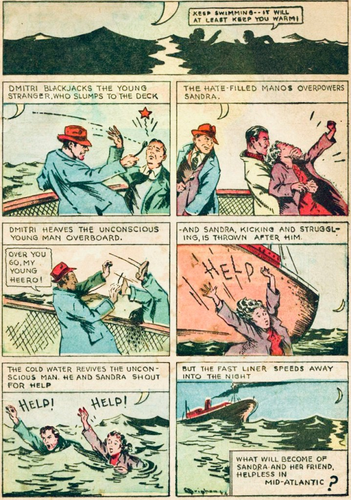 En sida från The Resbian Revenge ur More Fun Comics #19 (1937). ©National Allied