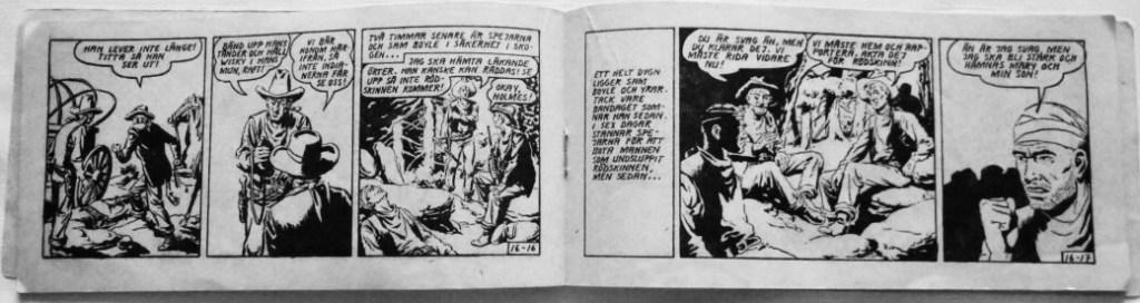 Prärieserier var en tidning i s.k. checkhäftesformat (mittuppslaget ur Prärieserier nr 16, 1954). ©Dardo