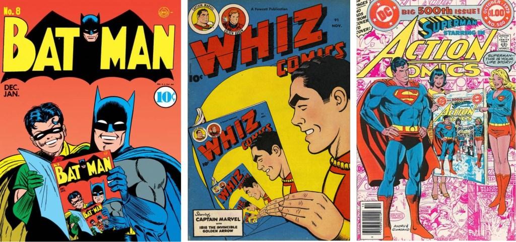 Omslag till Batman #8 (1941-42), Whiz Comics #91 (1947) och Action Comics #500 (1979). ©DC/Fawcett