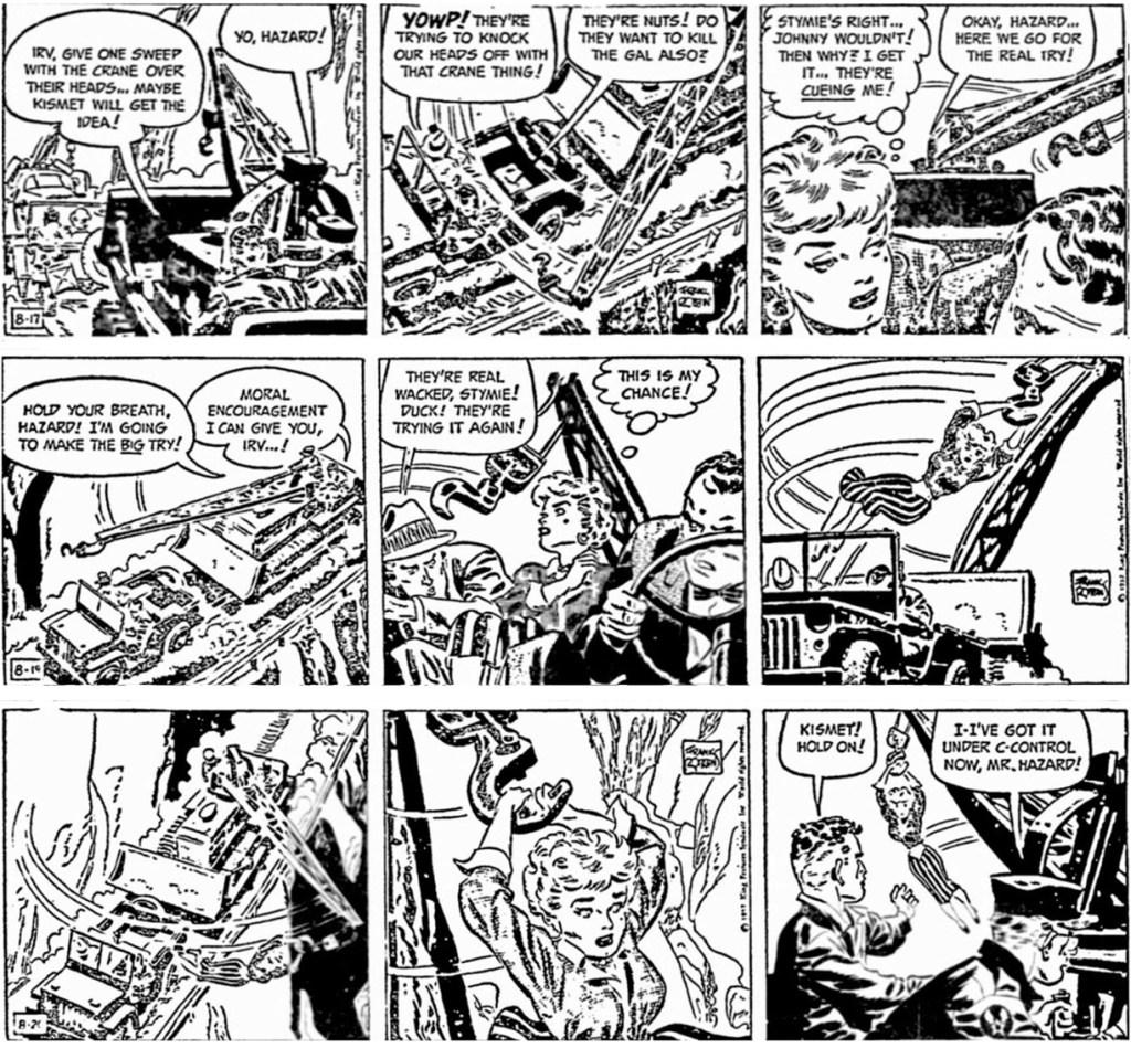 Motsvarande dagsstrippar i original från 17-20 augusti 1957. ©KFS