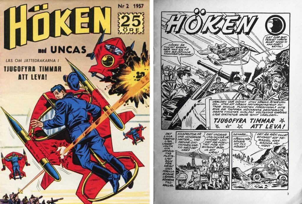 Omslag till Höken nr 2, 1957 och inledande sida ur Höken-serien. ©Formatic/EuropaPress