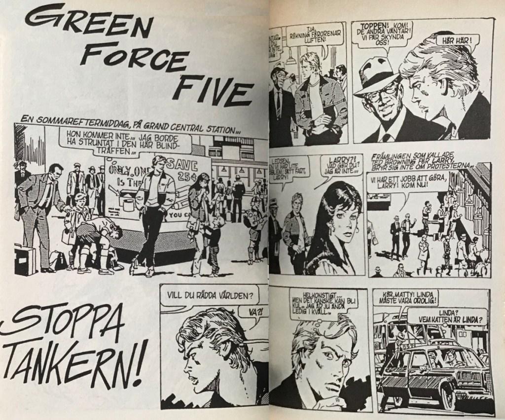 Ett uppslag med Green Force Five ur Comix nr 10. ©Bulls